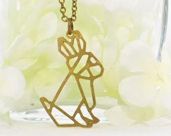 RESERVED Rabbit Necklace Geometric Bunny Maize - Bunny Pendant - Rabbit Jewelry - Pet Bunny Rabbit - Bunny Necklace - Rabbit Pendant- Nature