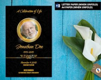 Golden Funeral Program Template | Printable Funeral Program Template | Microsoft Word and Photoshop Memorial Program