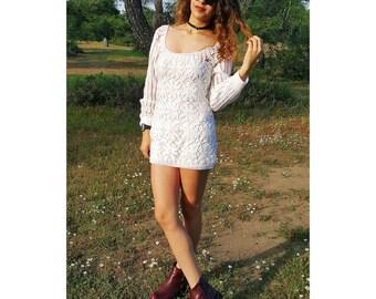 White Crochet Dress Women Boho Bohemian Hippie Gypsy Handmade