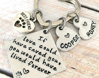Personalized Pet Loss Keychain, Pet Memorial Keychain, If love could have saved you, Grief Jewelry