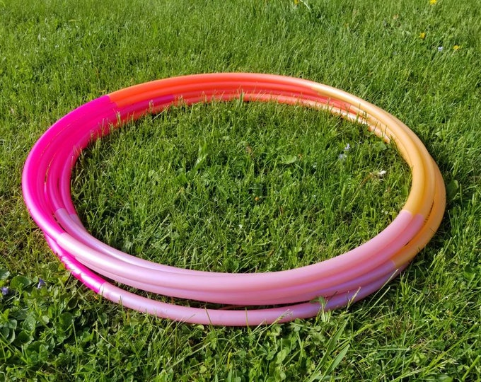 """Orange Sherbert Ombre 4 Tone Polypro Hula Hoop 3/4""""or 5/8"""" Collapsible for Travel- Push Pin Connection"""