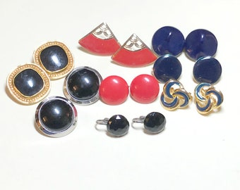 Seven pairs of vintage earrings, mixed colors, red, black, blue, vintage clip earring lot, vintage craft lot, wedding crafts 1960s-80s E88