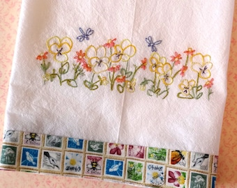 Pansy Flowers Dragonflies Kitchen Towel Hand Embroidery PDF Pattern