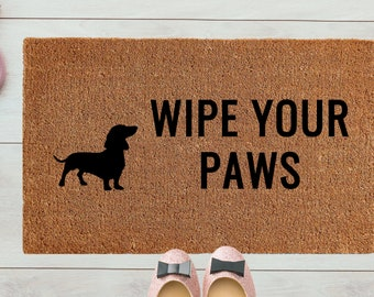 """Doormat  - """"Wipe your Paws"""" Custom Dog Breed 