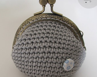 Pale blue cotton coin purse with inner lining, crochet, coin purse metal clasp, floral motif fabric, heavenly cotton