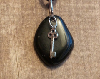 Polished Basalt Black Beach Stone with Key Charm Pendant Necklace