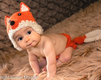 Crochet Baby Fox Hat with earflaps and Diaper Cover for isaacaroo- Photo props