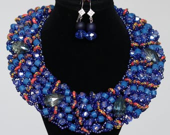 African Blue Beaded Jewelry set