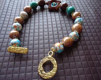 Fun Handmade Speckled Beaded Bracelet, Shabby Chic,  Flower Beaded Bracelet, Teenage Girl Jewelry