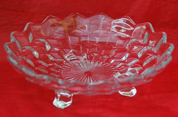 "Reduced: Vintage FOSTORIA AMERICAN 3 Footed BONBON 7 1/8"" Di. Collectible Dish Fostoria's Early American Pattern Glass - Excellent Condition"