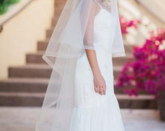 """HORSEHAIR EDGE CHAPEL Veil -1/2"""" or 1""""   w/ Blusher and Swarovski Pearl & Rondelle Comb, Wedding Veil  - Victoria"""