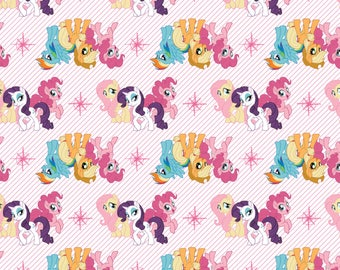 My Little Pony Fabric MLP Fabric Friends in White From Camelot 100% Cotton