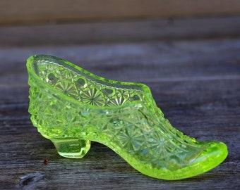 Fenton Vaseline Uranium Glass Shoe Victorian Shoe