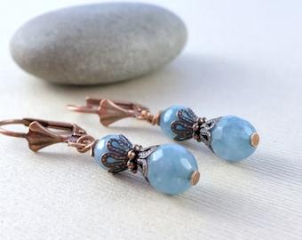 Aquamarine Gemstones Earrings - Copper Earrings - Beaded Dangle Earrings - Light Blue Earrings - Delicate Earrings - Small Boho Earrings