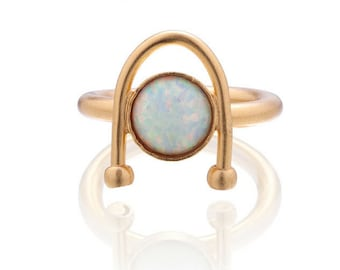 White Opal Ring, Gold Opal Ring, Gemstone Ring, Opal Ring For Women, Gold Dainty Ring, Statement Ring, Gold Plated Ring, Gift For Her