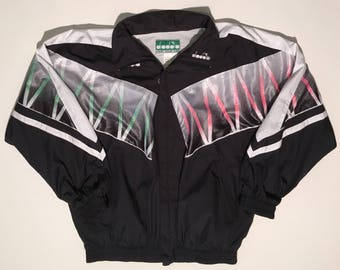 90s diadora vintage zip up windbreaker large
