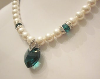Swarovski Pearl and Crystal Necklace - White Swarovski Pearls and Emerald Crystal Heart - Weddings, Brides, Bridesmaids