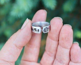 Lotus Boho Ring, Breathe Ring, Breathe Lotus Ring, Yoga Jewelry, Lotus Adjustable Ring, Breathe Lotus Ring, Lotus Ring, Large Ring, YogaRing