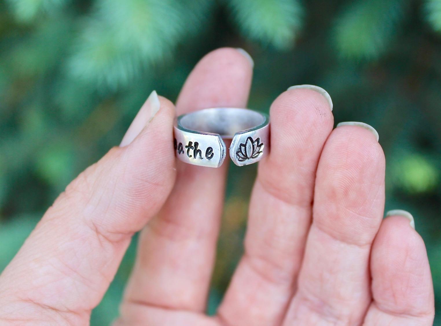 Lotus Boho Ring Breathe Ring Breathe Lotus Ring Yoga