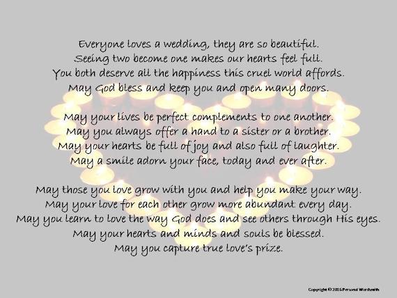 Poems To Read At Wedding: Wedding Poem Blessing Toast Digital Print Printable Marriage