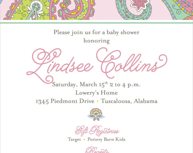 Paisley Baby Girl Baby Shower | Digital Download