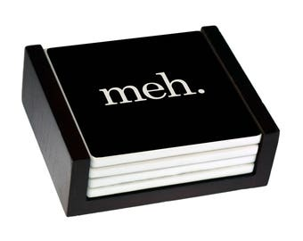 Meh Coaster Set - Sandstone Tile with Cork Back - 4 Piece Set -  Wood Box Caddy Included