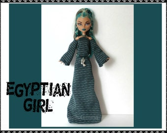 Monster High Nefera Doll Clothes Handmade Custom Egyptian Fashion - Gown Belt Jewelry - by dolls4emma