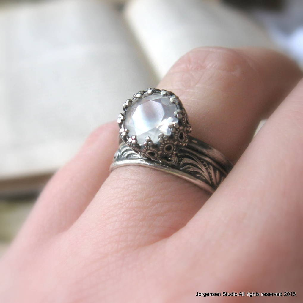 Unique Moonstone Engagement Ring / Black Gothic Promise Ring