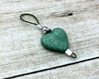 Green Heart Wire Loop Stitch Marker, Single SNAG FREE Knitting Marker, Gift for Knitters