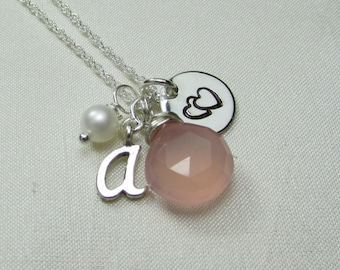 Initial Necklace Custom Hand Stamped Charm Necklace Personalized Mothers Necklace Sterling Silver Monogram Necklace Heart Mothers Jewelry