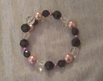Black, Pink, and Clear Plastic Beaded Wraparound Bracelet