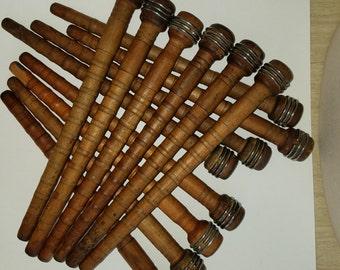 Vintage Wooden Industrial Spindles-Bobbins