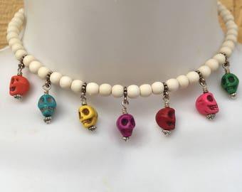 Dia de los Muertos Kali Ma Choker Necklace Under 25 Day of the Dead  Kali Carpe Diem Skull Jewelry Colorful Skulls White Wood Choker