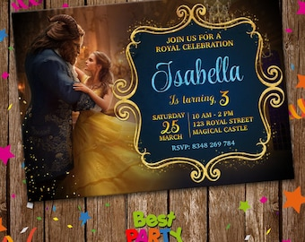 Beauty and the Beast Invitation, Beauty and the Beast Digital Invite, Movie Printable Digital File, Birthday Party Invitation, best-0030