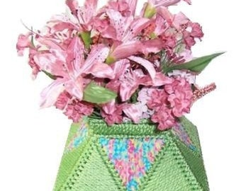 Plastic Canvas Pretty Flowers Vase