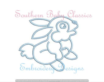 Satin Outline Easter Bunny Rabbit Digital Design File Embroidery Machine Bean Hand Stitched Look Spring Baby Boy Girl