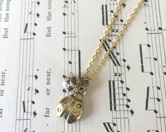Ladybug & Flower Charm Necklace