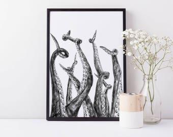 Octopus Print, Tentacle Wall Art, Octopus Wall Decor, Bathroom Print Kraken Print, Squid Tentacles, Octopus Poster Art, Nautical Print Decor