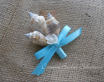 Aqua Seashell Groom Groomsmen Wedding Boutonniere, Button Hole