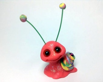 Tropical Rainbow Silly Sparkle Snail Trollfling Troll by Amber Matthies