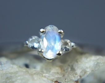 Petite Faceted Rainbow Moonstone with White Topaz Accents Birthstone or Pinky Sterling Ring, size 4.0  - FREE Shipping!