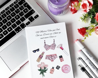 """Hardcover notebook """"No matter how do you feel""""  Diary, annotations, fashion notebook, stationery kawaii"""