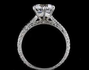 Six Prongs Engagement Ring, 1CT Forever One Moissanite Ring, Solitaire Wheat Style Engraved Milgrain Ring, 14K White Gold Vintage Style Ring