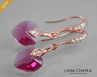 Fuschia Rose Gold Heart Earrings, Swarovski Fuschia Crystal Earrings, Hot Pink Earrings, Pink Heart Dainty Earring Bridal Bridesmaid Fuchsia