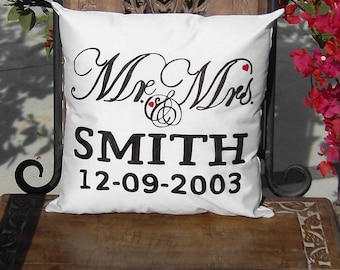 Mr and Mrs pillow-Free Shipping- His and Her pillow Custom Name and Date