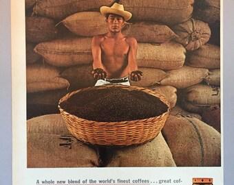 """1961 Sanka Coffee Print Ad - """"Aroma Roast"""""""