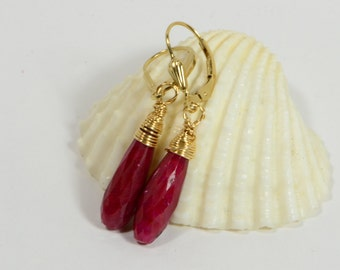 Long Teardrop Earrings Natural Ruby Wire Wrapped On Gold Filled Wire Gemstone Jewelry Precious Stone Earrings Birthstone For July