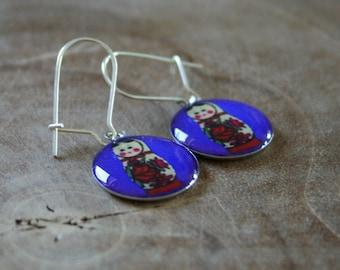 Dangeling Matryoshka earrings: Cobalt blue