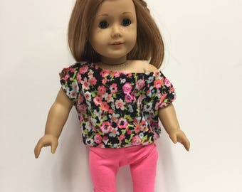 Floral Off Shoulder T-Shirt and Hot Pink Leggings - Fits American Girl Doll or other 18 in Doll - Ready to Ship