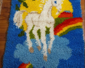 Vintage Unicorn Wall Hanging 1980's Unicorns Tapestry Rug Hook and Latch